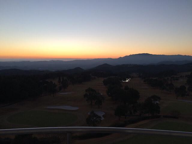 ベランダから見た景色 夕焼けの画像